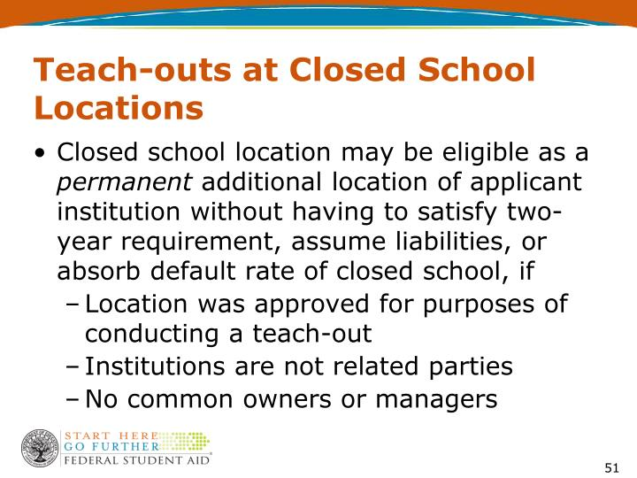 Teach-outs at Closed School Locations