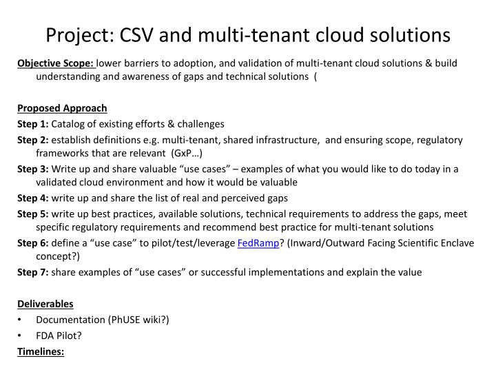 Project csv and multi tenant cloud solutions