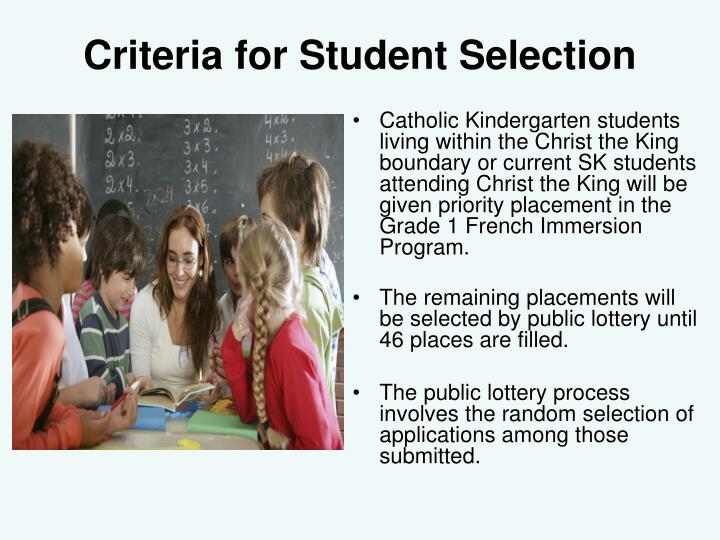 Criteria for Student Selection