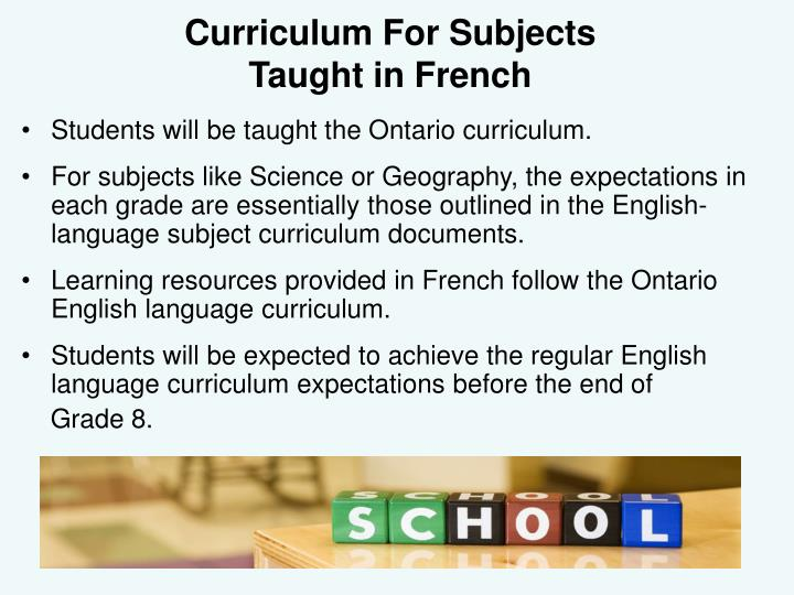 Curriculum For Subjects