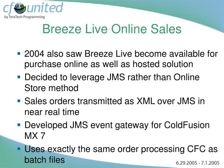 Breeze Live Online Sales