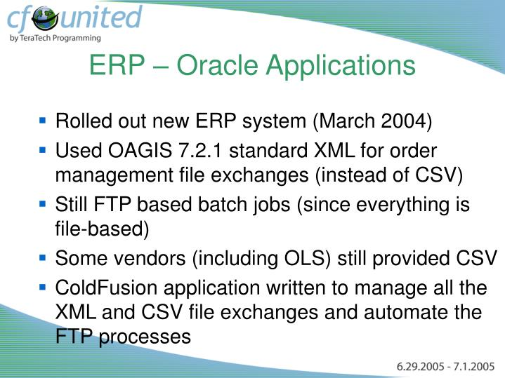 ERP – Oracle Applications