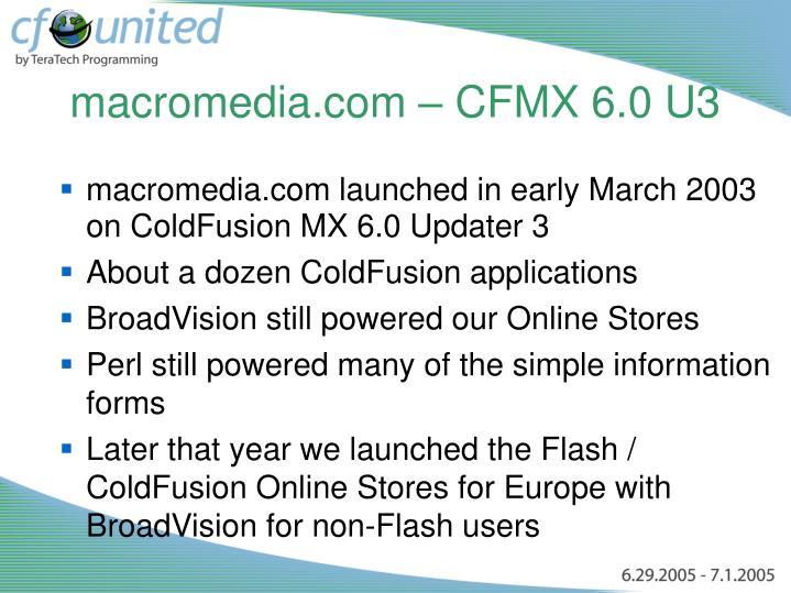 macromedia.com – CFMX 6.0 U3