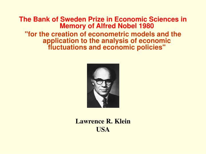 The Bank of Sweden Prize in Economic Sciences in Memory of Alfred Nobel 1980