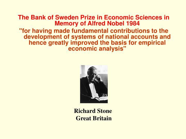 The Bank of Sweden Prize in Economic Sciences in Memory of Alfred Nobel 1984