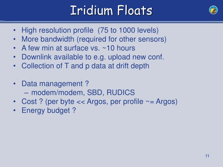 Iridium Floats