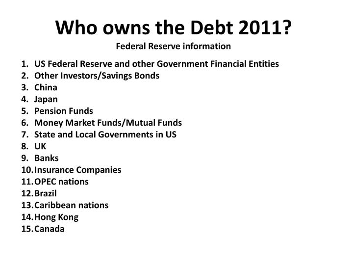 Who owns the Debt 2011?