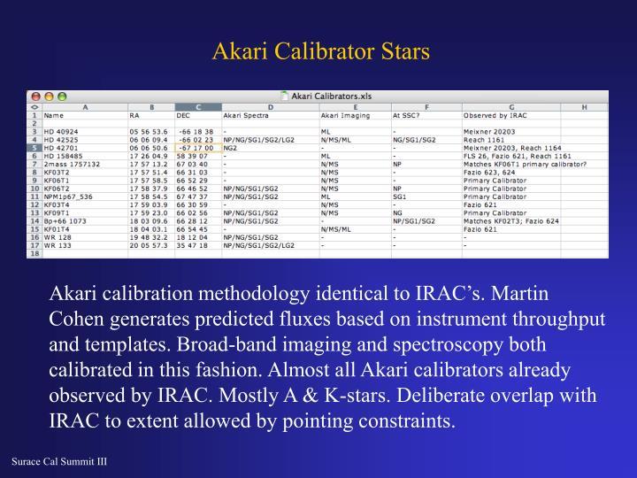 Akari Calibrator Stars