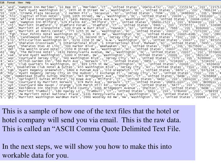 "This is a sample of how one of the text files that the hotel or hotel company will send you via email.  This is the raw data.  This is called an ""ASCII Comma Quote Delimited Text File."