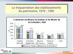 la fr quentation des tablissements du patrimoine 1979 19993