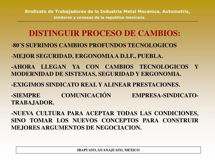 DISTINGUIR PROCESO DE CAMBIOS: