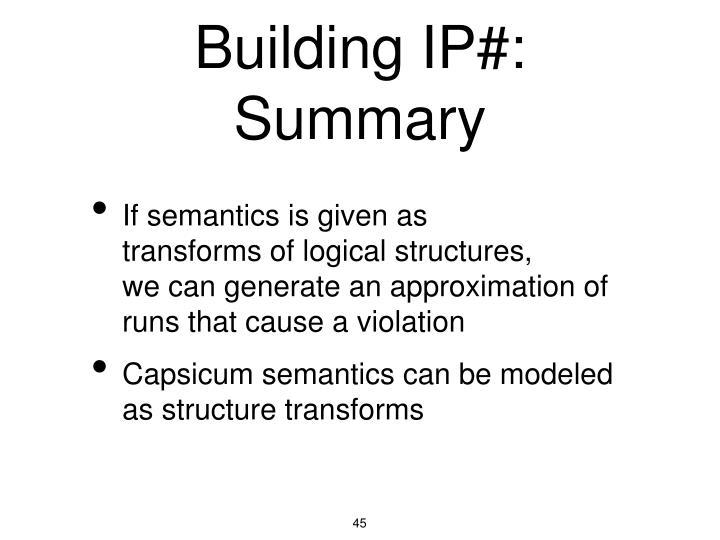 Building IP#: Summary
