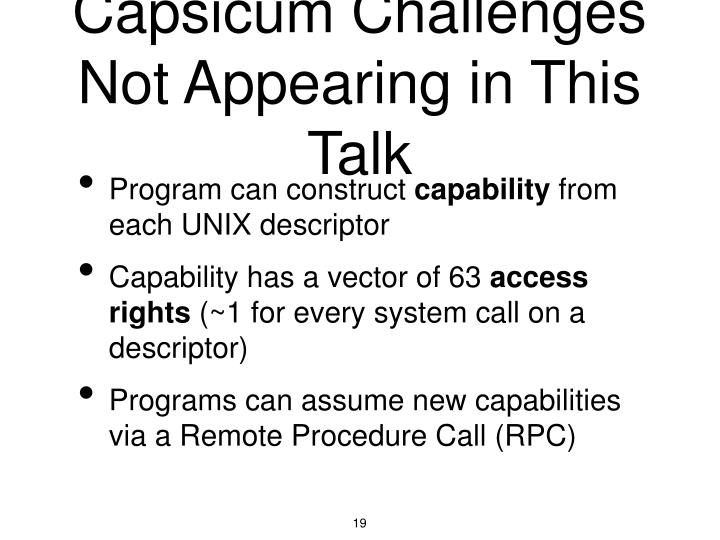 Capsicum Challenges