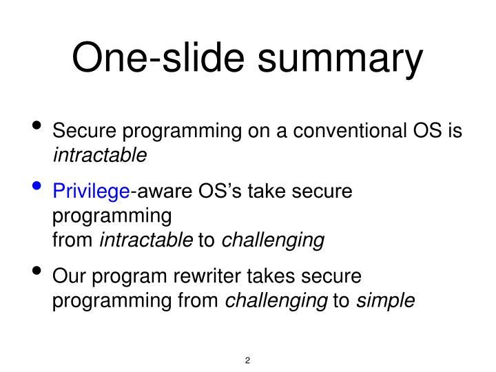 One-slide summary