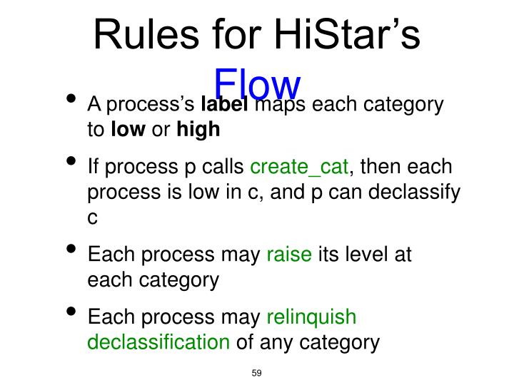 Rules for HiStar's
