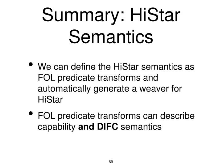 Summary: HiStar Semantics