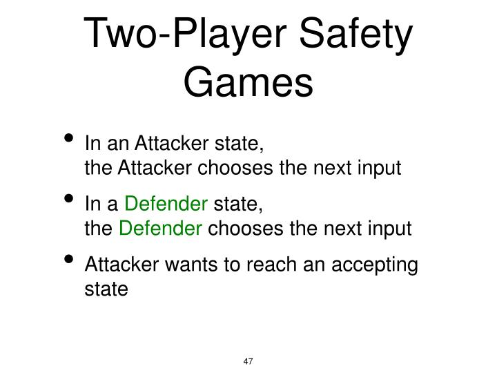 Two-Player Safety Games