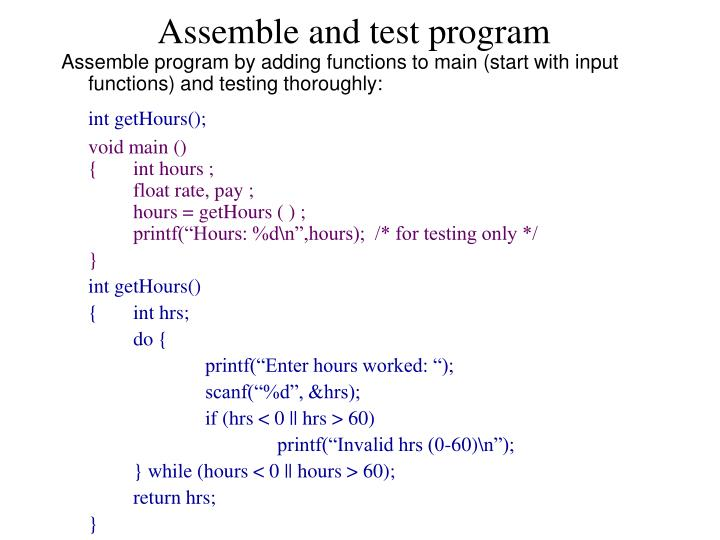 Assemble and test program