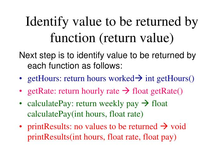 Identify value to be returned by function (return value)