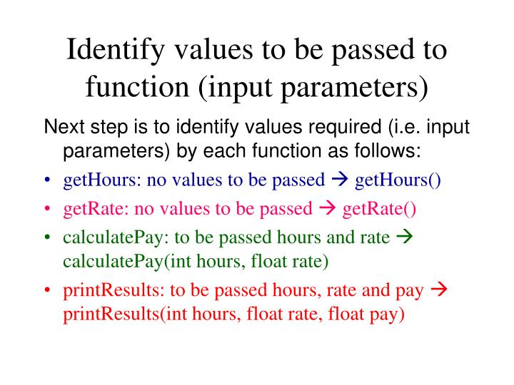 Identify values to be passed to function (input parameters)