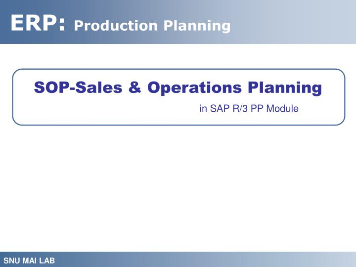 SOP-Sales & Operations Planning