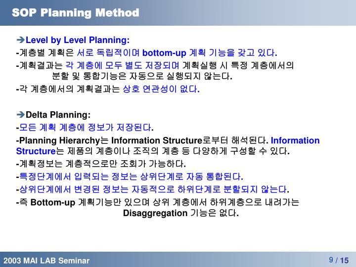 SOP Planning Method