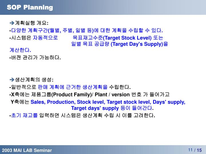SOP Planning