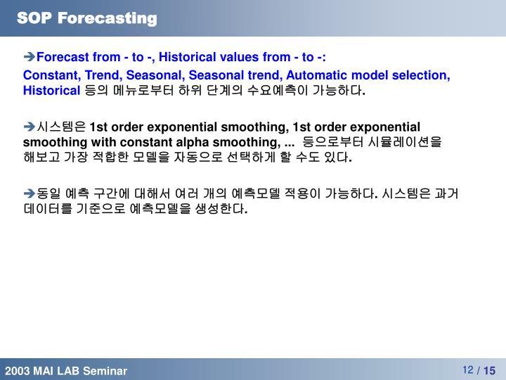 SOP Forecasting