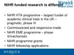 nihr funded research is different