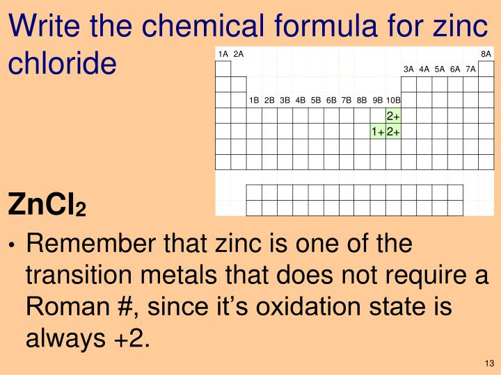 Write the chemical formula for zinc chloride