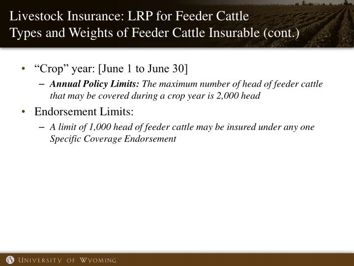 Livestock Insurance: LRP for Feeder Cattle