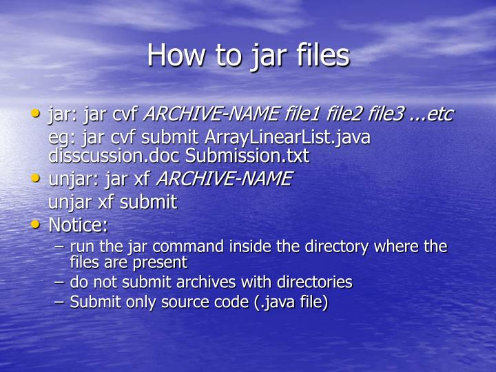How to jar files