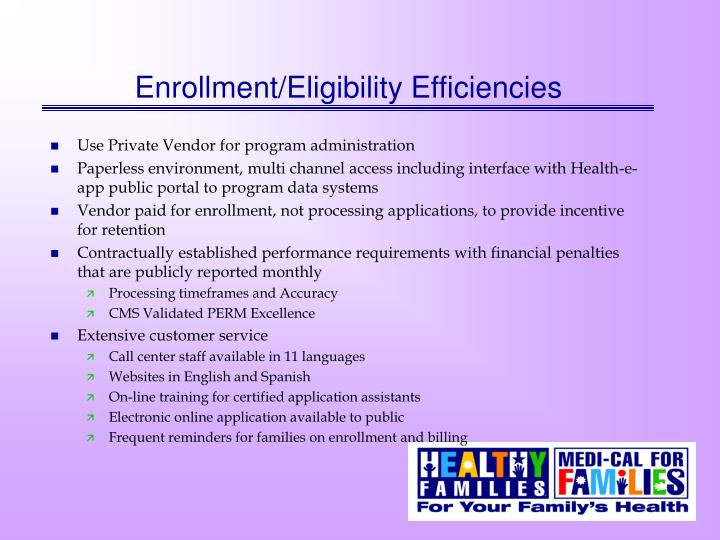 Enrollment/Eligibility Efficiencies