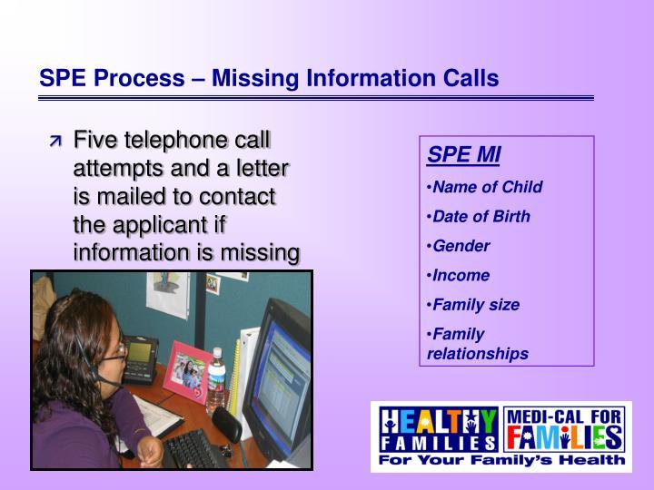 SPE Process – Missing Information Calls