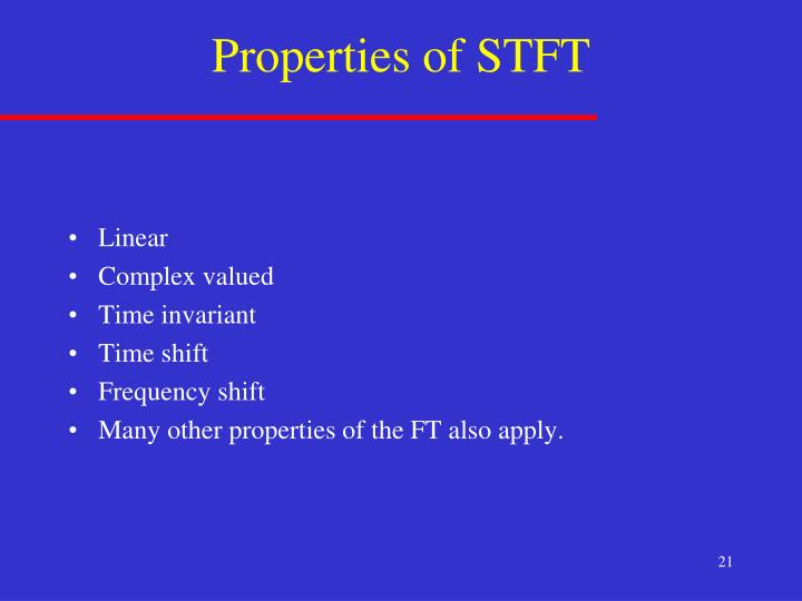 Properties of STFT