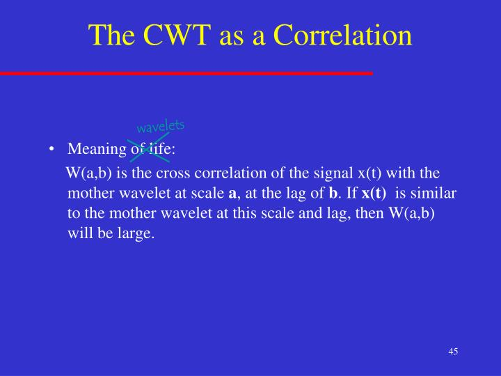 The CWT as a Correlation