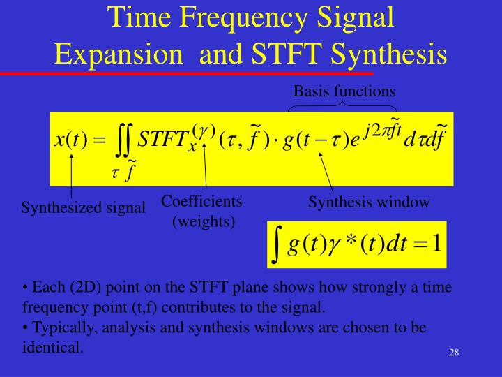 Time Frequency Signal Expansion  and STFT Synthesis