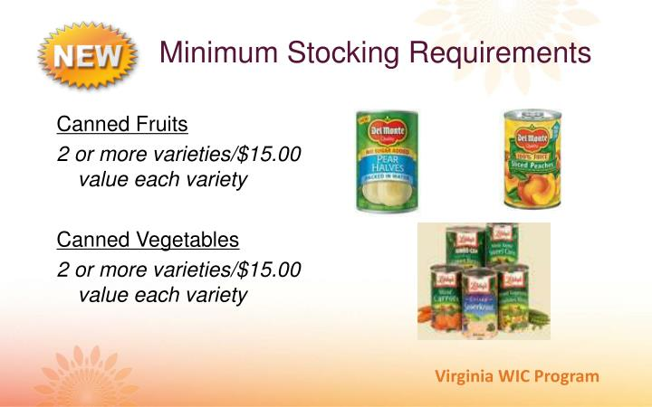 Minimum Stocking Requirements