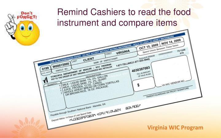 Remind Cashiers to read the food instrument and compare items