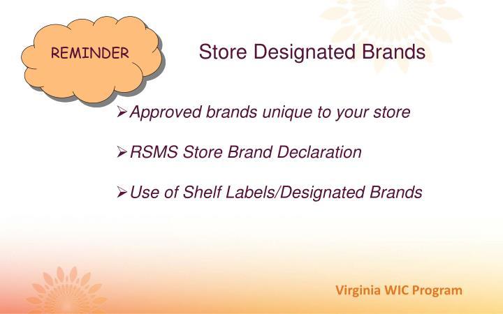 Store Designated Brands