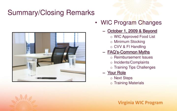 WIC Program Changes