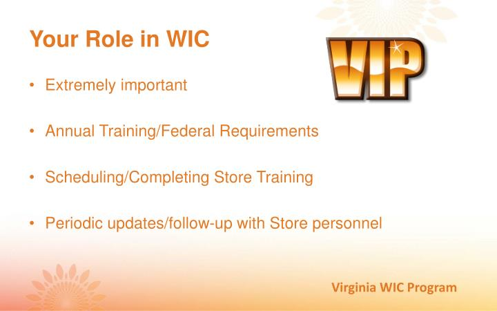Your Role in WIC