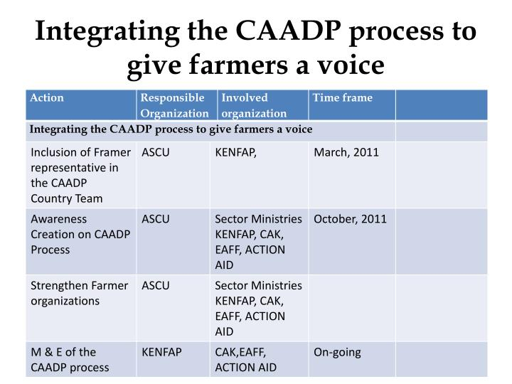 Integrating the CAADP process to give farmers a voice