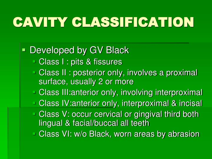CAVITY CLASSIFICATION