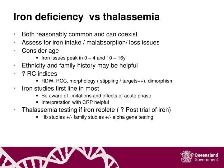 Iron deficiency  vs thalassemia