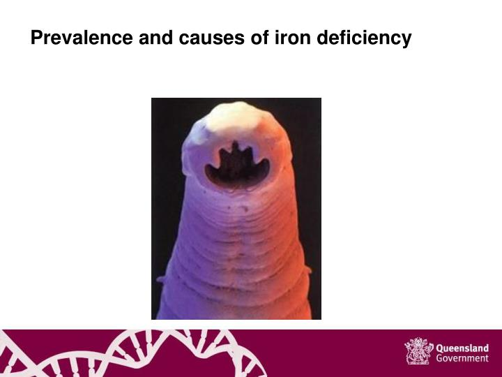 Prevalence and causes of iron deficiency