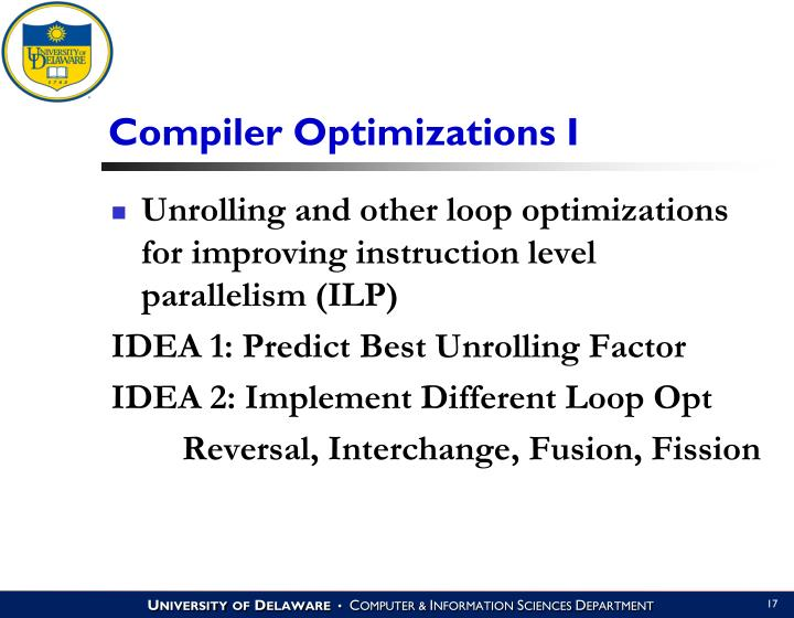 Compiler Optimizations I