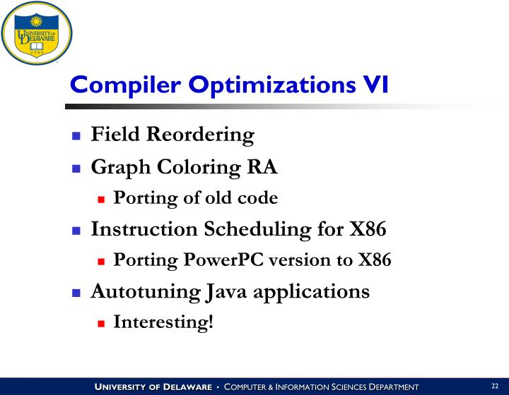 Compiler Optimizations VI