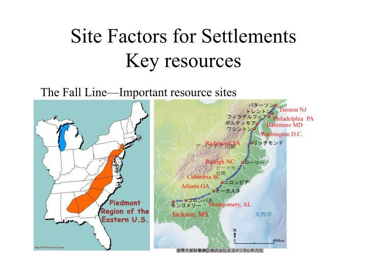 Site Factors for Settlements