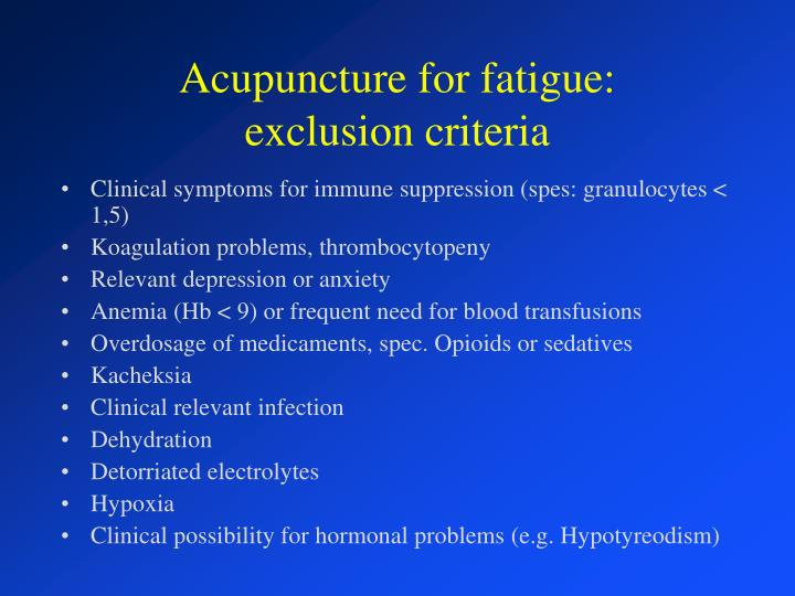 Acupuncture for fatigue: